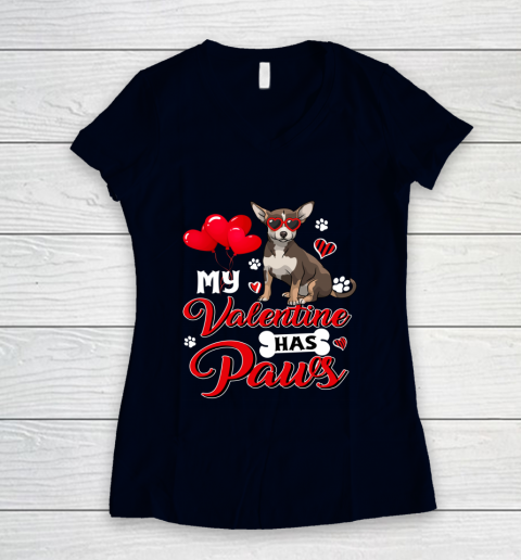 My Valentine Has Paws Chihuahua Valentine s Day Women's V-Neck T-Shirt 2