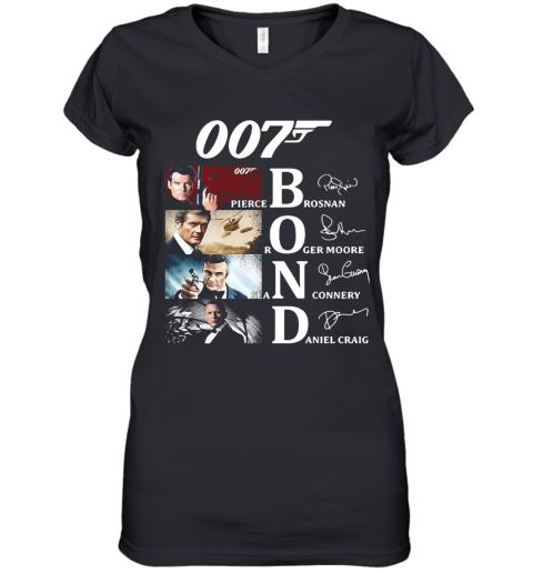 007 Pierce Brosnan Roger Moore Sean Connery Daniel Craig Signatures Women's V-Neck T-Shirt