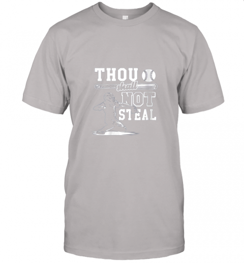 uf4o funny baseball thou shall not steal baseball player jersey t shirt 60 front ash