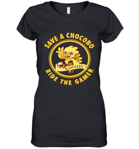 Save A Chocobo Ride A Gamer Women's V-Neck T-Shirt