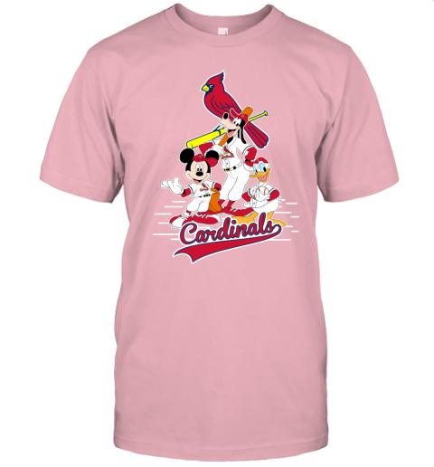 7wpr st louis cardinals mickey donald and goofy baseball jersey t shirt 60 front pink