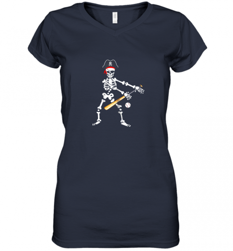 gwfs skeleton pirate floss dance with baseball shirt halloween women v neck t shirt 39 front navy