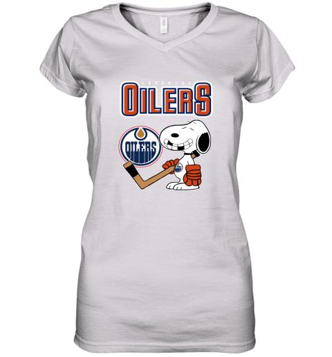 vmly edmonton oilers ice hockey broken teeth snoopy nhl shirt women v neck t shirt 39 front white