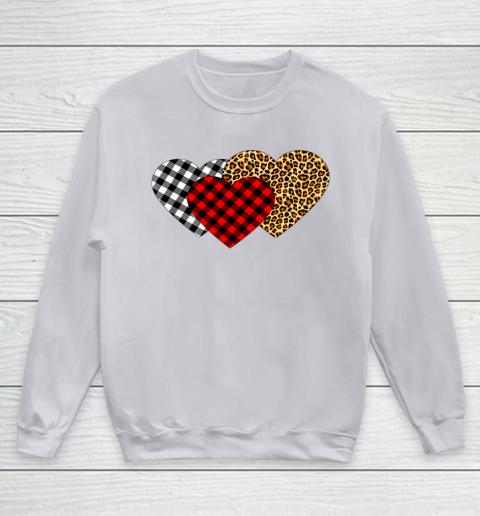 Leopard Heart Buffalo Plaid Heart Valentine Day Youth Sweatshirt 3