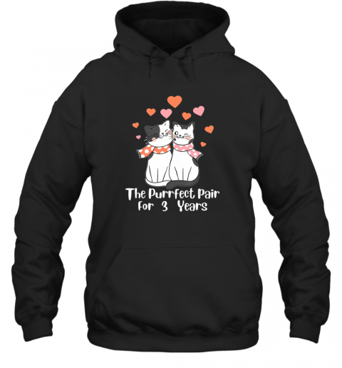 3rd wedding Anniversary For Cat Lover Hoodie