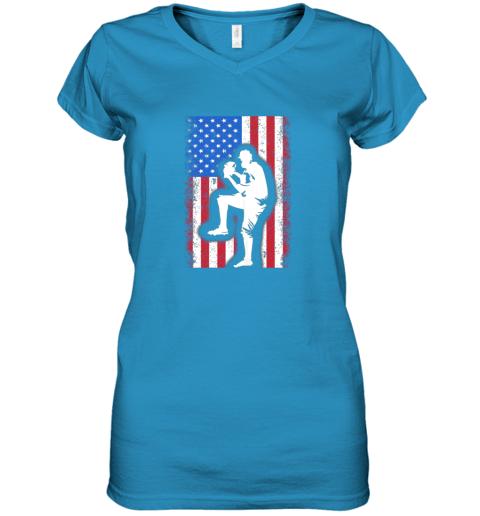 8j68 vintage usa american flag baseball player team gift women v neck t shirt 39 front sapphire