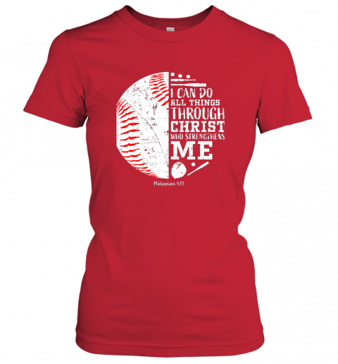 ittw christian baseball shirts i can do all things through christ ladies t shirt 20 front red