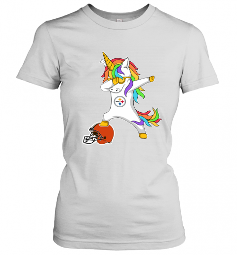 os3d football dabbing unicorn steps on helmet pittsburgh steelers ladies t shirt 20 front white