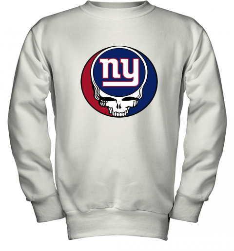ql15 nfl team new york giants x grateful dead logo band youth sweatshirt 47 front white