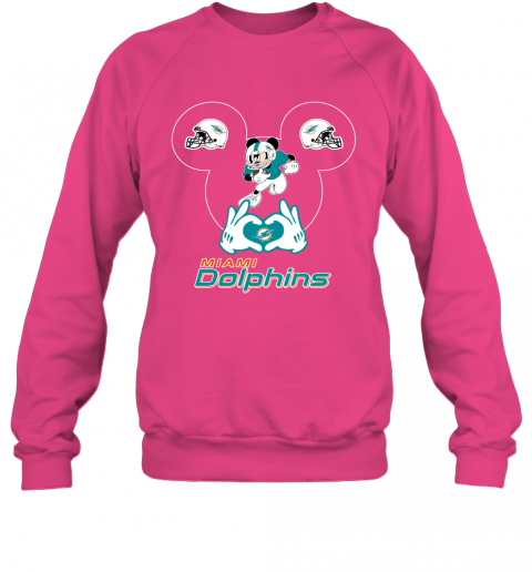 uqpy i love the dolphins mickey mouse miami dolphins sweatshirt 35 front heliconia