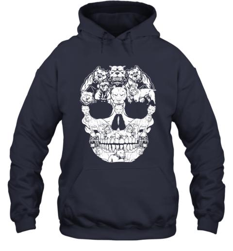 Pitbull Dog Skull Shirt Halloween Costumes Gift Hoodie