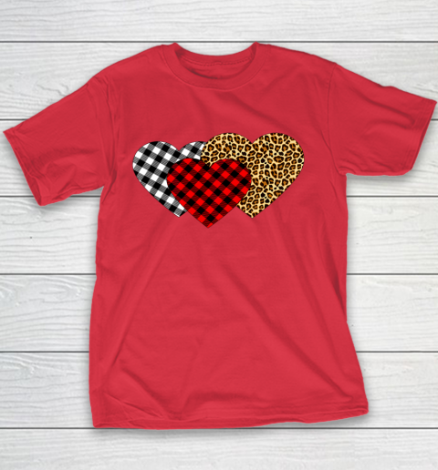 Leopard Heart Buffalo Plaid Heart Valentine Day Youth T-Shirt 7