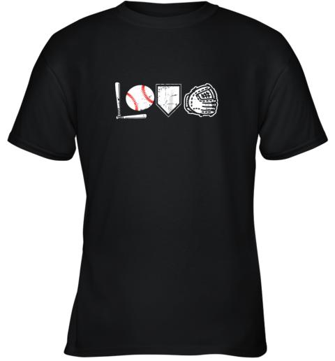 I Love Baseball Baseball Heart Youth T-Shirt