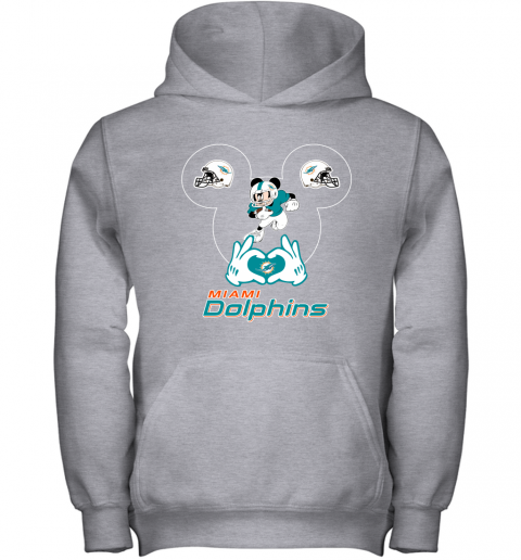 4szz i love the dolphins mickey mouse miami dolphins youth hoodie 43 front sport grey