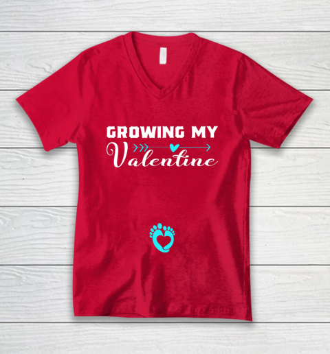 Cute Growing my Valentine Gift for Women pregnancy V-Neck T-Shirt 6