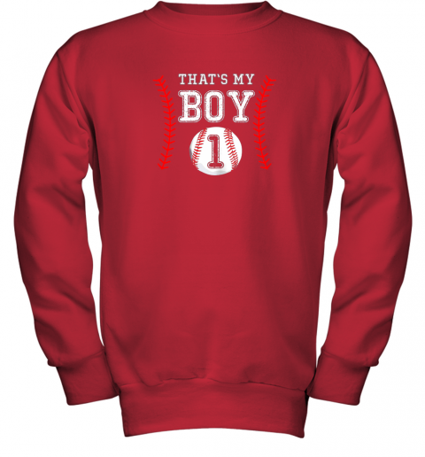 a3xr that39 s my boy baseball 1 year old dad mom youth sweatshirt 47 front red