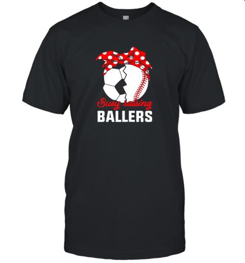 Busy Raising A Baller  Funny Baseball Soccer Mom Unisex Jersey Tee