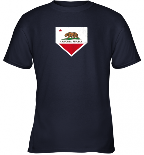 odug vintage baseball home plate with california state flag youth t shirt 26 front navy
