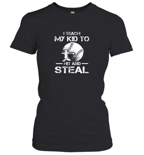 Dad Coach I Teach My Kids To Hit Steal Baseball Gift Women's T-Shirt