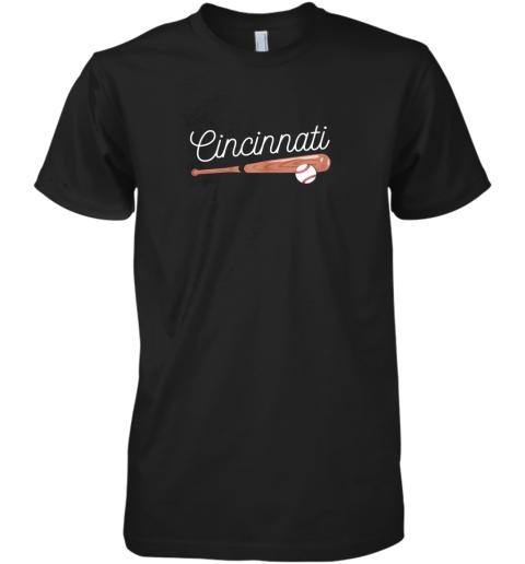 Cincinnati Baseball Tshirt Classic Ball and Bat Design Premium Men's T-Shirt