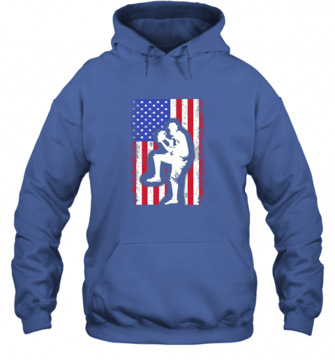 vwag vintage usa american flag baseball player team gift hoodie 23 front royal