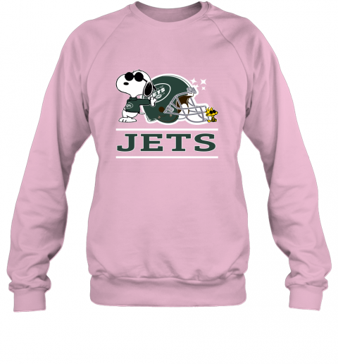 psyu the new york jets joe cool and woodstock snoopy mashup sweatshirt 35 front light pink