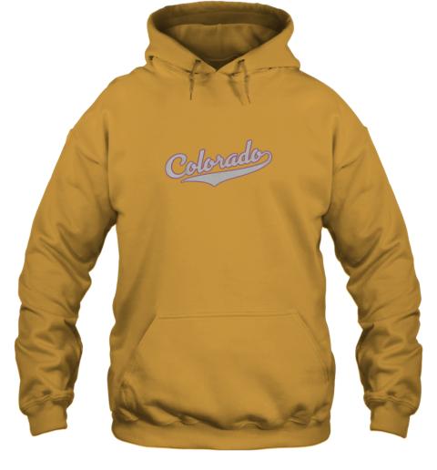 yoar colorado shirtretro baseball script design hoodie 23 front gold