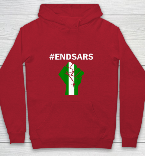 EndSARS End SARS Nigeria Flag Colors Strong Fist Protest Youth Hoodie 7