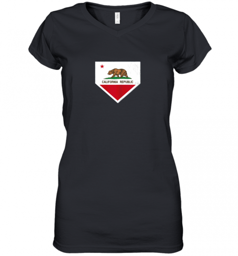 Vintage Baseball Home Plate With California State Flag Women's V-Neck T-Shirt