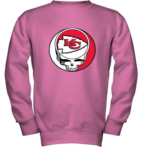 lmdw nfl team kansai city chiefs x grateful dead youth sweatshirt 47 front safety pink