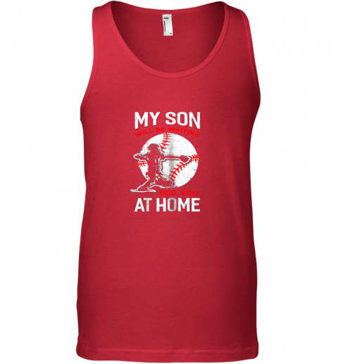 i9zj my son will be waiting for you at home baseball dad mom unisex tank 17 front red