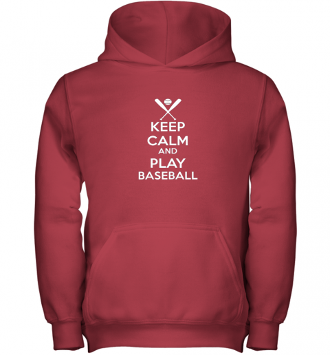 oisq keep calm and play baseball youth hoodie 43 front red