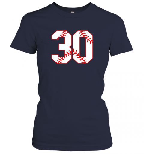 oowm thirtieth birthday party 30th baseball shirt born 1989 ladies t shirt 20 front navy