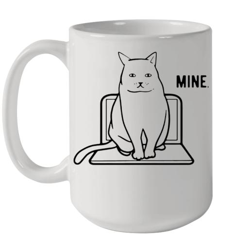 Mine Computer Cat Ceramic Mug 15oz