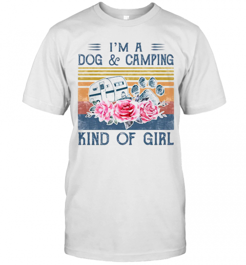 'M A Paw Dog And Camping Kind Of Girl Flowers Vintage Retro T-Shirt