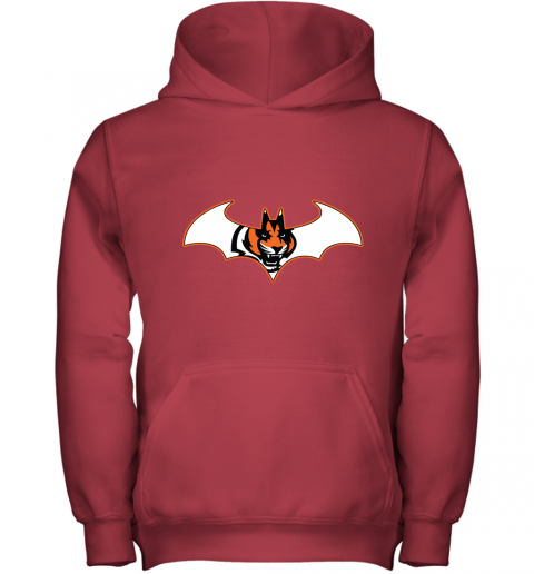 w14b we are the cincinnati bengals batman nfl mashup youth hoodie 43 front red
