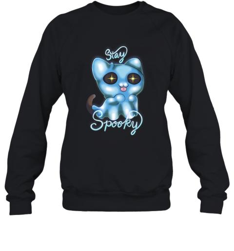 Stay Spooky Ghost Cat Pastel Goth Halloween Humor Lovers Sweatshirt
