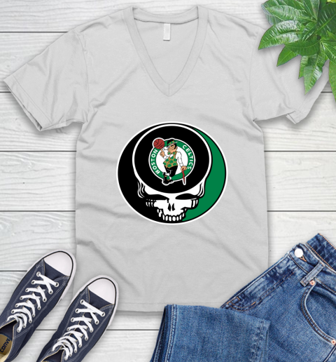 Boston Celtics Nba Basketball Grateful Dead Rock Band Music V Neck T Shirt