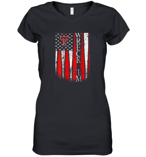 Texas Tech Red Raiders Baseball Flag Team Name Women's V-Neck T-Shirt