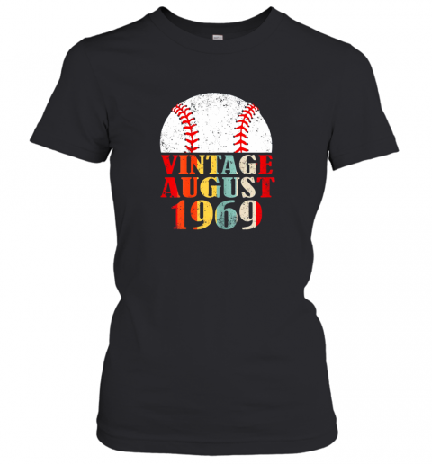 unks born august 1969 baseball shirt 50th birthday gifts ladies t shirt 20 front black