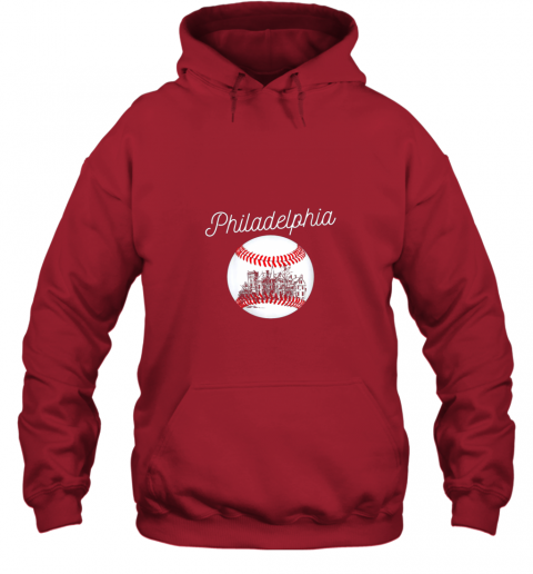 avzu philadelphia baseball philly tshirt ball and skyline design hoodie 23 front red