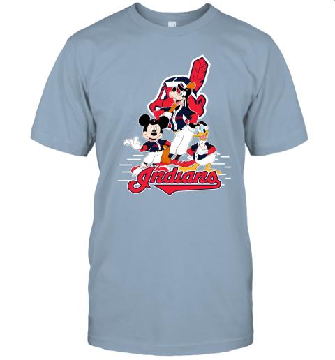 j8x3 cleveland indians mickey donald and goofy baseball jersey t shirt 60 front light blue
