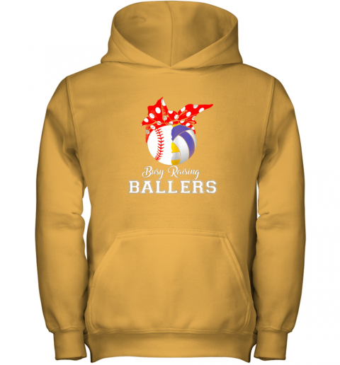 4zxv baseball volleyball busy raising ballers shirt mothers day youth hoodie 43 front gold