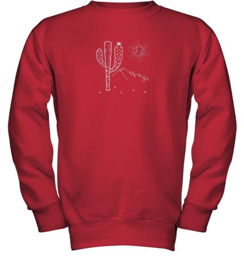 cxex cactus baseball bat image shirt for america39 s pastime fan youth sweatshirt 47 front red