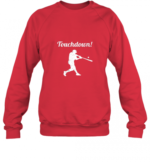 zmw1 touchdown funny baseball sweatshirt 35 front red