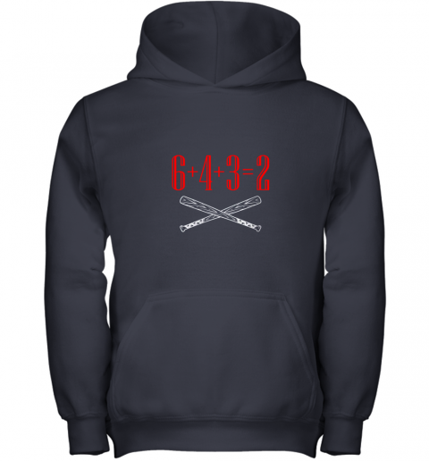 h5xm funny baseball math 6 plus 4 plus 3 equals 2 double play youth hoodie 43 front navy