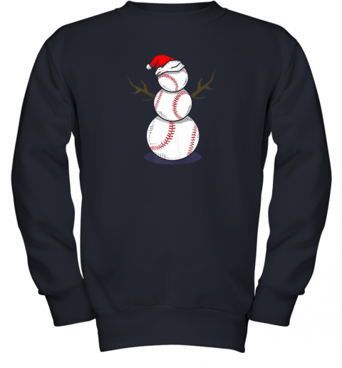 zk4w christmas in july summer baseball snowman party shirt gift youth sweatshirt 47 front navy