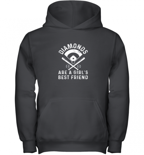 Diamonds are a Girl's Best Friend Baseball Youth Hoodie