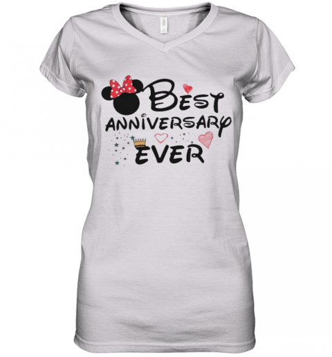 Best Anniversary Ever Minnie Mouse Women's V-Neck T-Shirt
