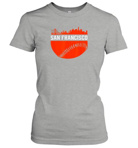 oplv san francisco baseball vintage sf the city skyline gift ladies t shirt 20 front ash